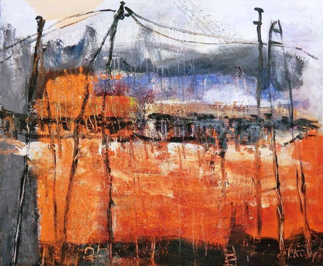 Verbindung, Abstrakt, Orange, Brücke, Steg, Malerei