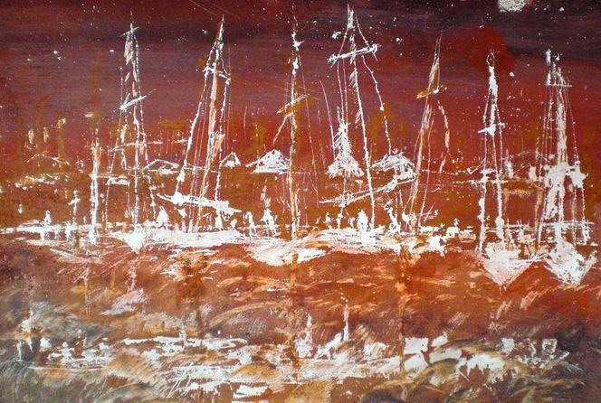 Rot, Meer, Schiff, Boot, Segler, Hafen