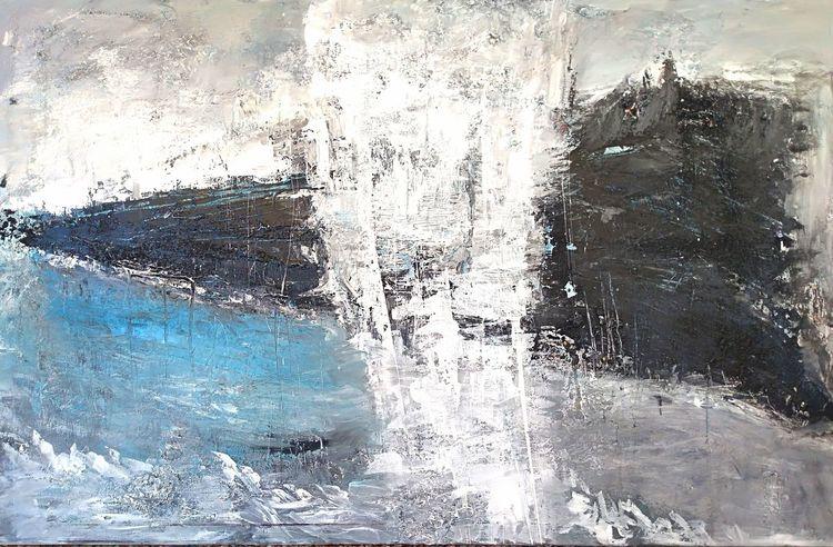 Mischtechnik, Nicht gegenständlich, Acrylmalerei, Schwarz weiß, Leinwand auf keilrahmen, Grau