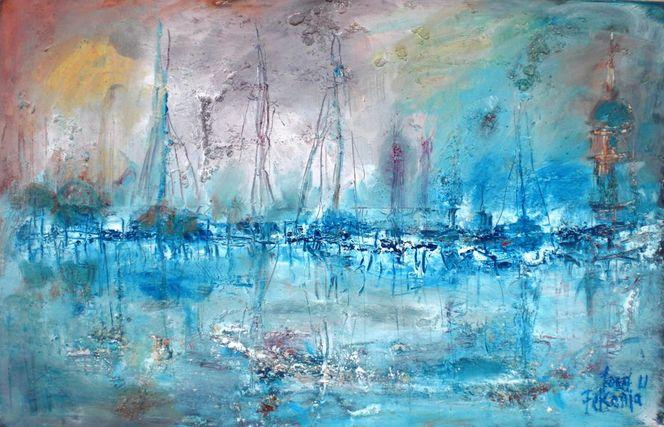 Abendstimmung, Hafen, Abendlicht, Wasser, Blau, Meer