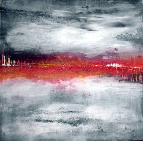 Rot, Grau, Abstrakt, Malerei,