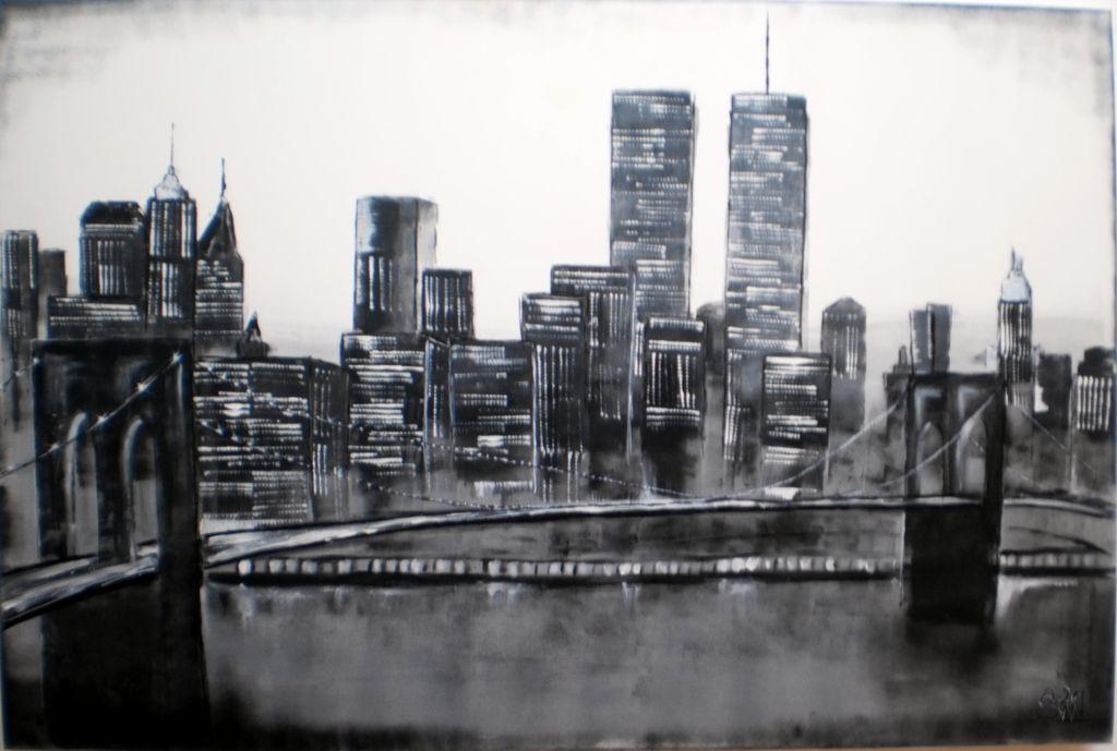 bild schwarz hochhaus manhatten newyork von andrea schwaiger bei kunstnet. Black Bedroom Furniture Sets. Home Design Ideas