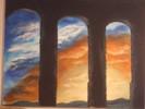 Viadukt, Wolken, Sonnenuntergang, Abendstimmung