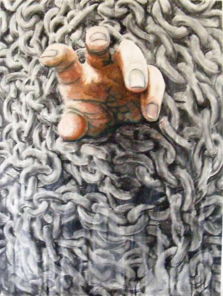 Emotion, Kette, Serie, Malerei, Hand, Hände