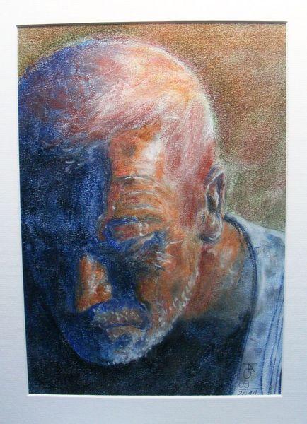 Malerei, Pastellmalerei, Menschen, Mann, Zeichnungen, Portrait