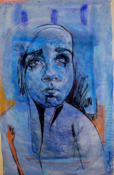 Portrait, Emotion, Menschen, Acrylmalerei, Pastellmalerei, Ausdruck