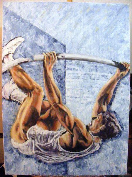 Aktion, Acrylmalerei, Bewegung, Sport, Menschen, Muskulatur