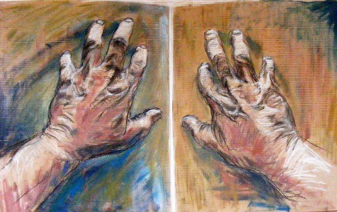 Acrylmalerei, Arbeiter, Hände, Kohlezeichnung, Pastellmalerei, Malerei