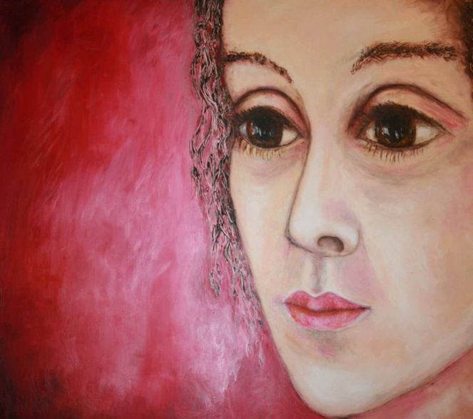 Portrait, Trügerisch, Riesenaugen, Rot, Malerei, Gesicht