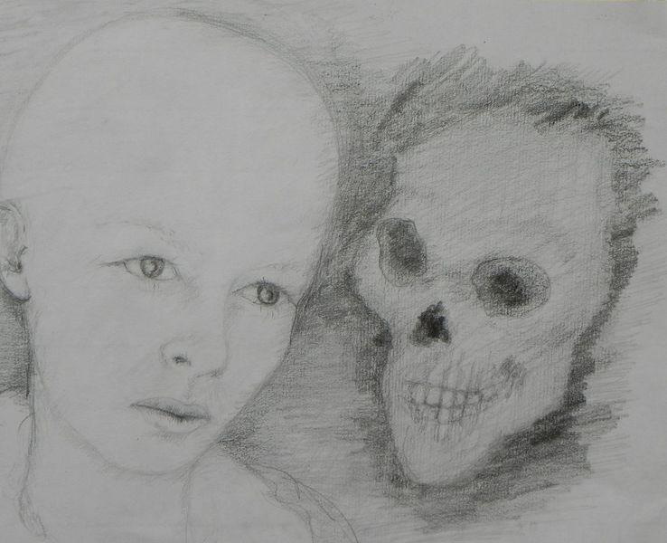 Melancholie, Bleistiftzeichnung, Mädchen, Tod, Zeichnungen
