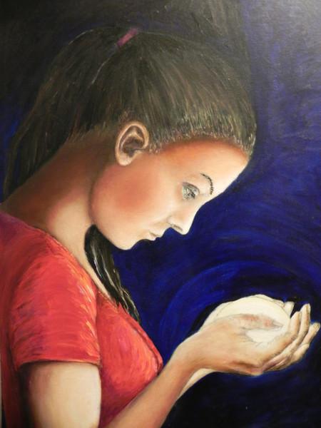 Mädchen, Bergkristall, Stein, Rot, Malerei, Menschen
