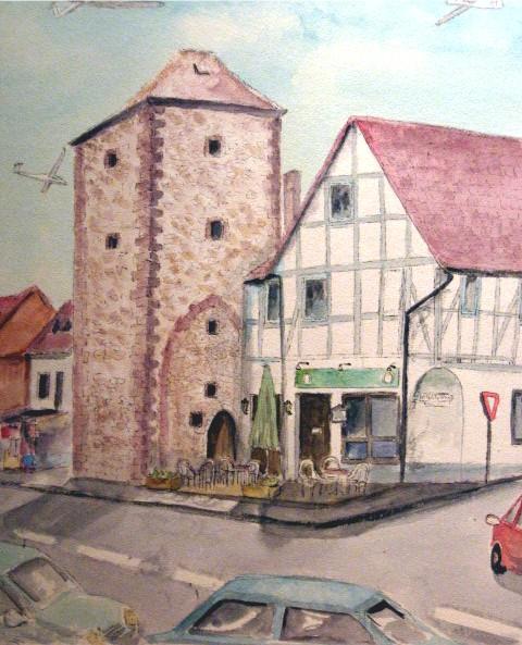 La torre, Segelflugzeug, Pizzeria, Aquarellmalerei, Festungsanlage, Wasserfestung