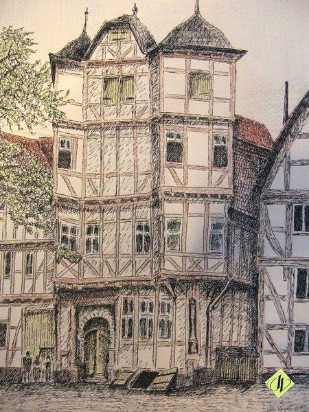 Hotel, Ziegenhain, Haus, Zeichnung, Tuschezeichnung, Gaststätte