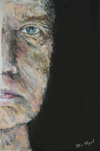 Gefühl, Portrait, Gesicht, Gouachemalerei, Spachteltechnik, Lebenserfahrung