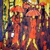 Fußgänger, Wachs, Rot, Regenwetter