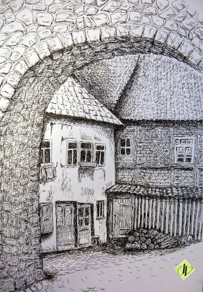 Tuschezeichnung, Hof, Holzschuppen, Neukirchen früher, Stadtmauer, Alte gebäude