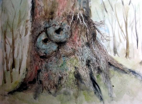 Baum, Rinde, Struktur, Wurzel, Tuschmalerei, Aquarellmalerei