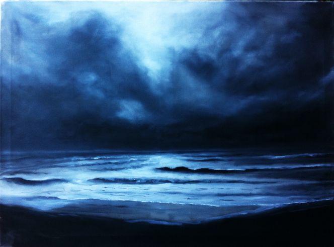 Strand, Wolken, Sturm, Meer, Malerei, Nacht