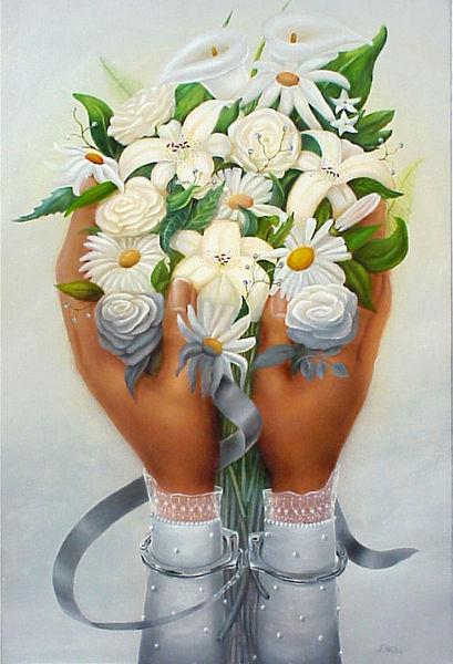 Heirat, Grau, Blumen, Alltag, Strauß, Malerei