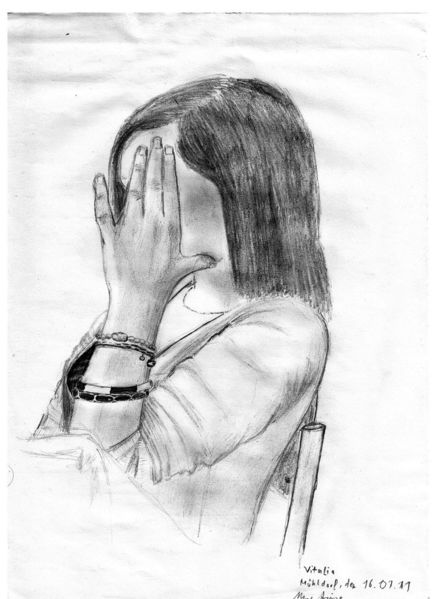 Portrait, Vitalia, Bleistiftzeichnung, Russisch, Kohlezeichnung, Zeichnung