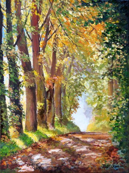 Allee bäume herbst, Malerei, Allee