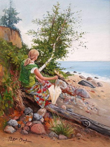 Steilküste, Orlowo, Strand, Sommer, Frau, Malerei