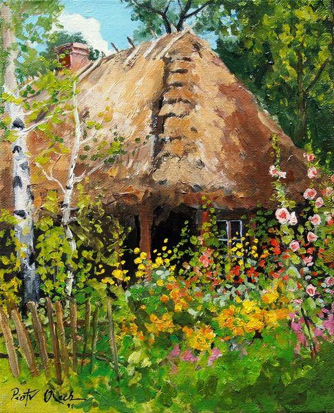 Blumen, Birken, Landhaus, Sommer, Malerei, Pflanzen