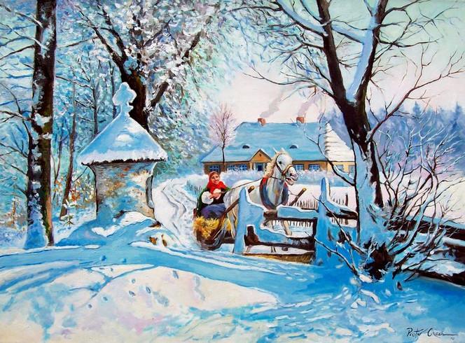 Winter, Mädchen, Pferde, Schlittenfahrt, Malerei