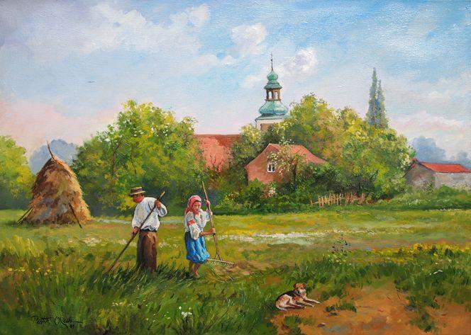 Frau, Dorf, Heu, Wiese, Malerei, Menschen