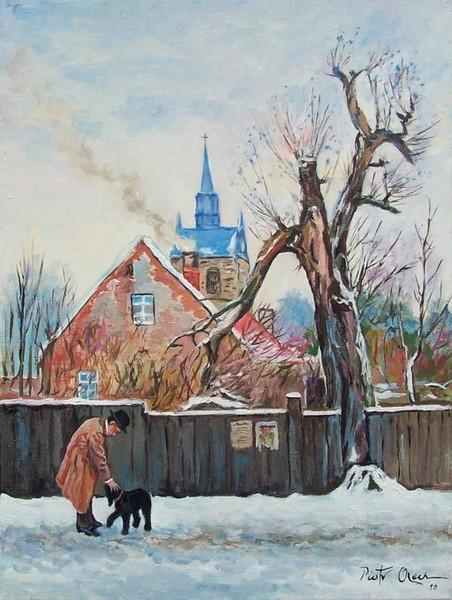 Schnee, Winter, Hund, Kirche, Malerei, Tiere