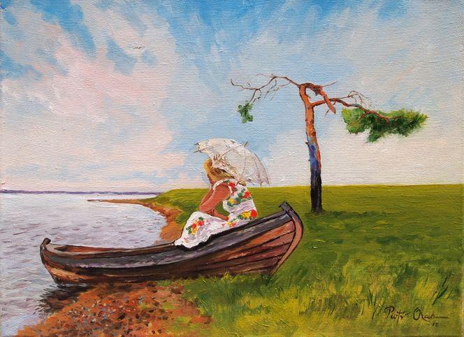 Frau, Boot, Sommer, Traum, Malerei, Menschen