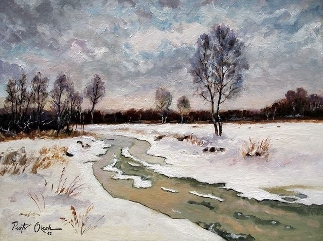 Winter schnee fluss, Malerei, Fluss, Winter