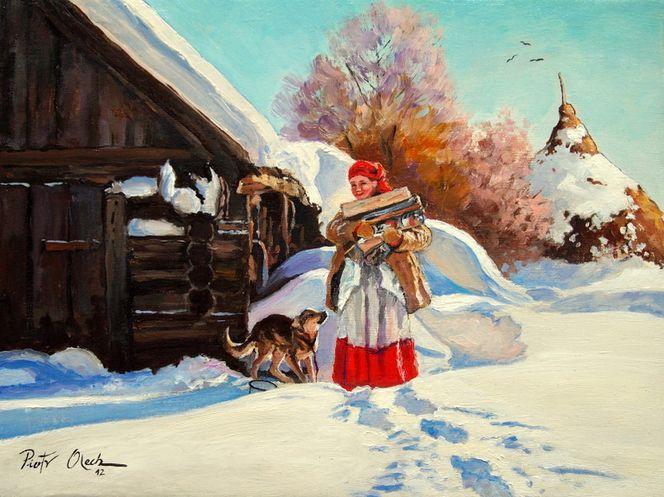 Frau, Schnee, Winter, Hund, Haus, Malerei