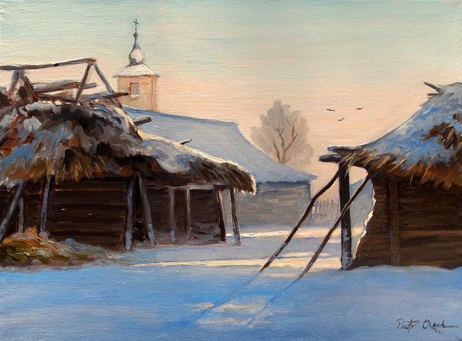 Dorf, Häuser, Winter, Schnee, Malerei