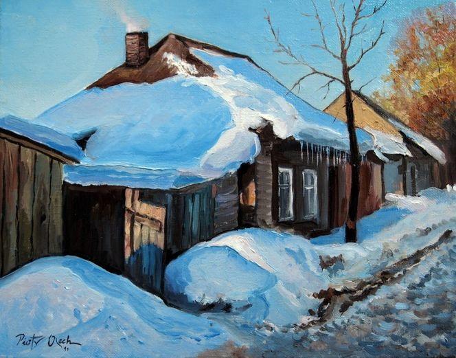 Dorf, Winter, Schnee, Malerei