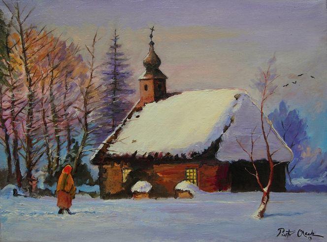 Frau, Winter, Schnee, Kirche, Malerei, Menschen