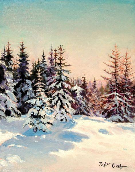 Nadelbäume, Winter, Schnee, Wald, Malerei, Winterwald