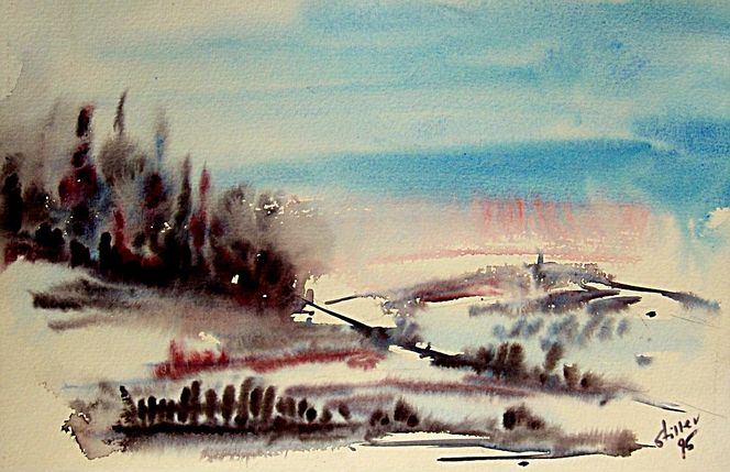 Landschaft, Brocken, Harz, Aquarell