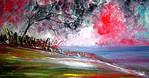 Landschaft, Malerei, Abend, See