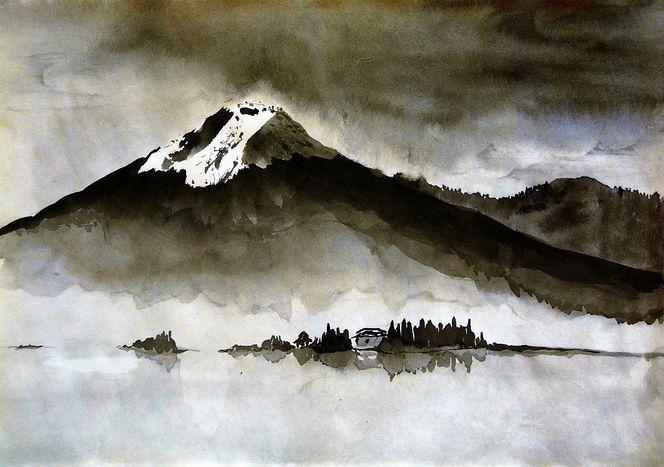 Tusche berg see, Malerei, Sturm, Ruhe
