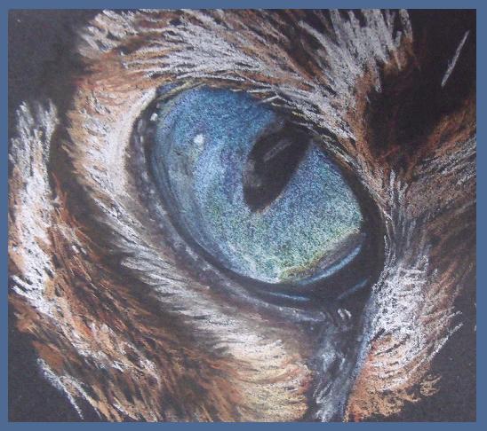 Blau, Kreide, Makro, Zeichnung, Augen, Pastellmalerei