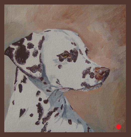 Ölmalerei, Dalmatiner, Kiwi, Hund, Portrait, Fleck