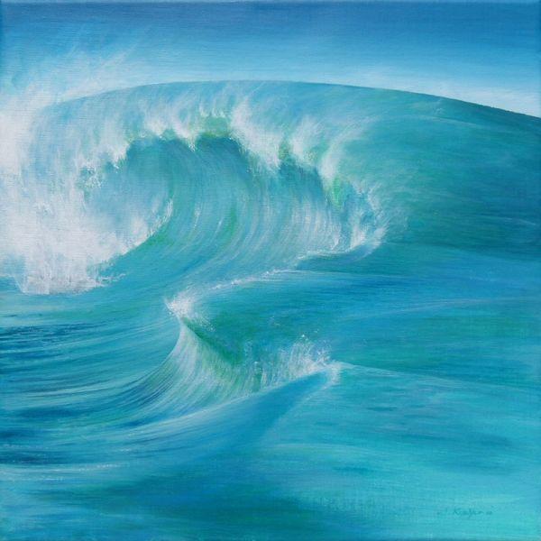 Blau, Welle, Acrylmalerei, Grün, Wasser, Malerei