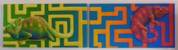Acrylmalerei, Labyrinth, Diptychon, Chamäleon, Malerei, Figural