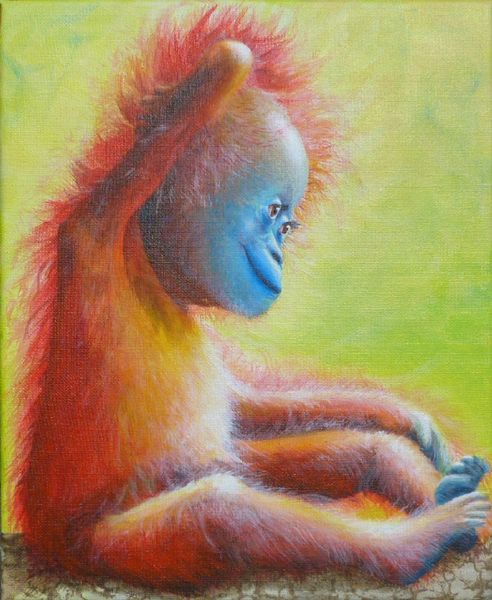 Affe, Baby, Orang utan, Malerei, Orang