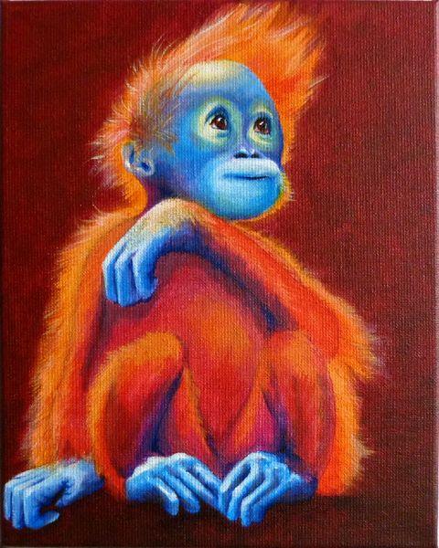 Borneo, Orang utan, Baby, Affe, Malerei, Orang