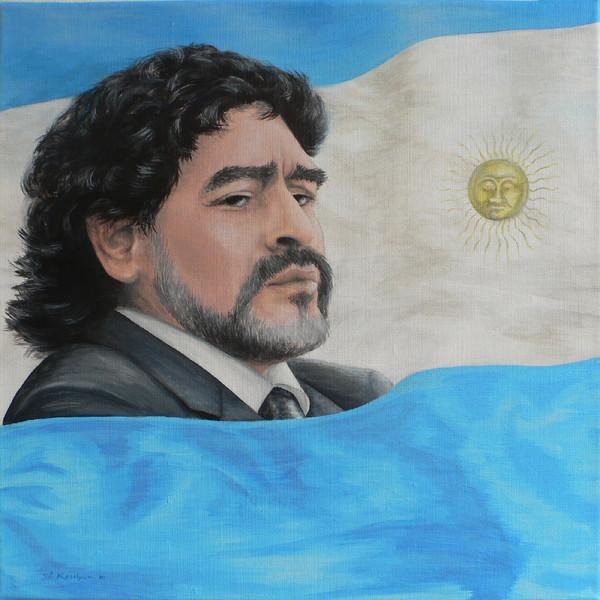Portrait, Maradona, Acrylmalerei, Argentinien, Fußball, Malerei