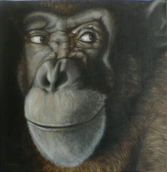 Acrylmalerei, Affe, Portrait, Schimpanse, Tierportrait, Malerei