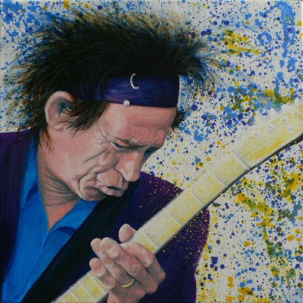 Portrait, Acrylmalerei, Keith richards, Malerei,