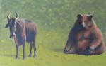 Wirtschaft, Bulle, Acrylmalerei, Bär